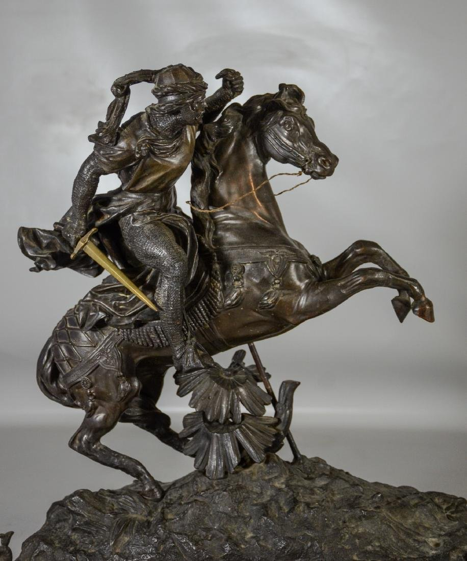 White metal sculpture of an Arab Warrior on Horseback - 2
