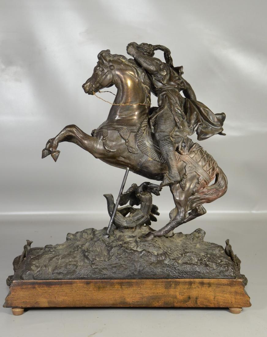 White metal sculpture of an Arab Warrior on Horseback - 8