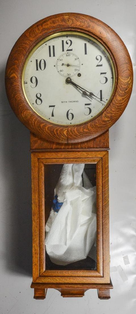 Oak Seth Thomas No 2 weight wall regulator clock