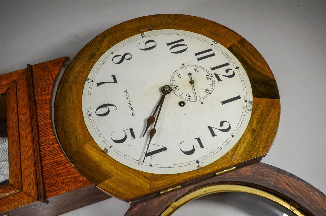Oak Seth Thomas No 2 weight wall regulator clock - 2