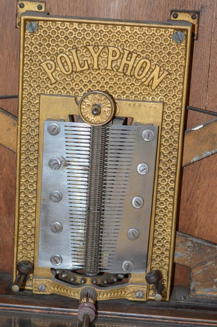 Walnut Polyphon upright coin operated double comb - 10