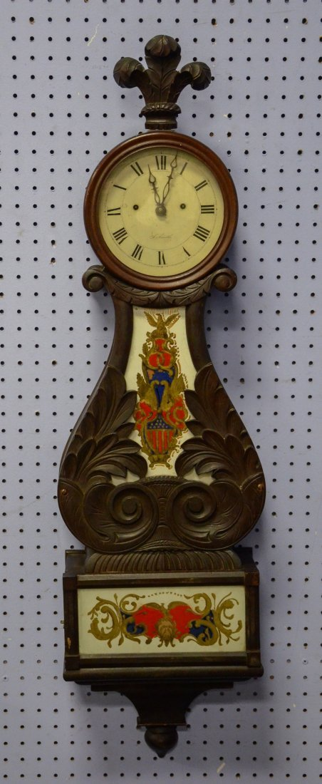 J(esse) Smith Lyre Banjo Clock with Eglomise Panels