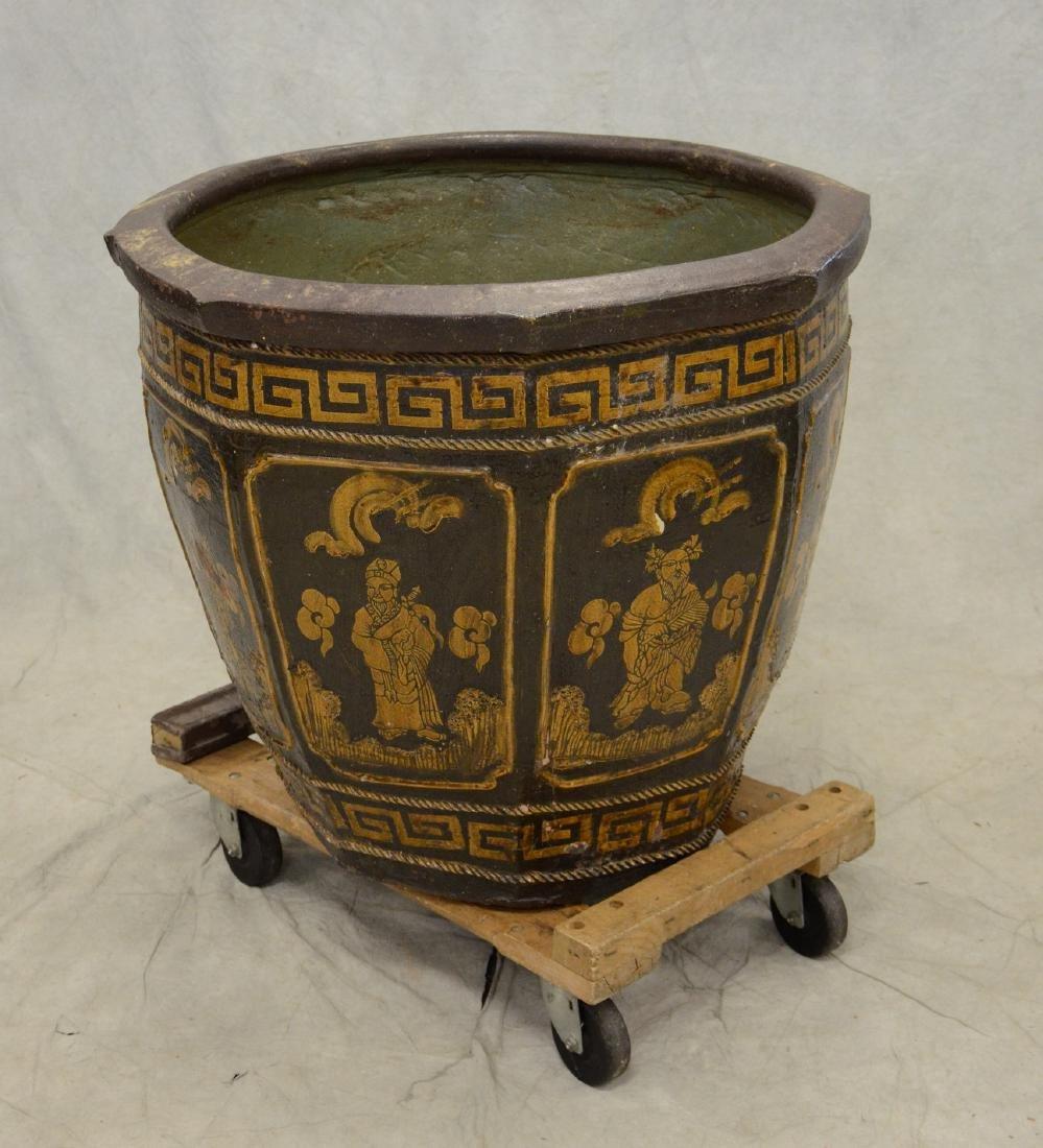 """Large round Chinese ceramic jardiniere, 28"""" h x 33"""" dia"""