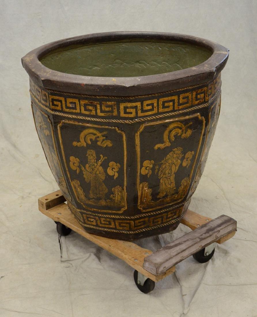 """Large round Chinese ceramic jardiniere, 28"""" h x 33"""" dia - 3"""
