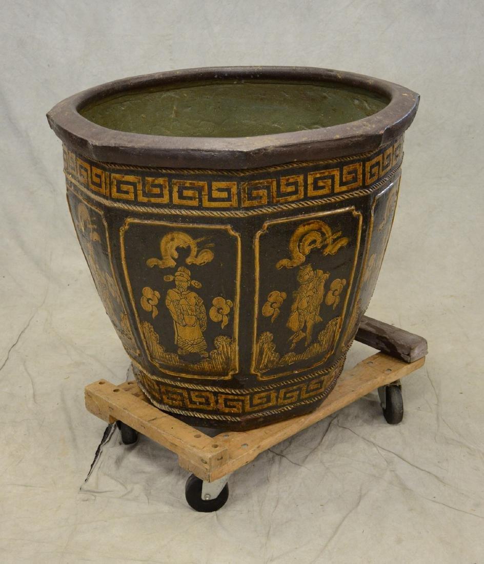 """Large round Chinese ceramic jardiniere, 28"""" h x 33"""" dia - 4"""
