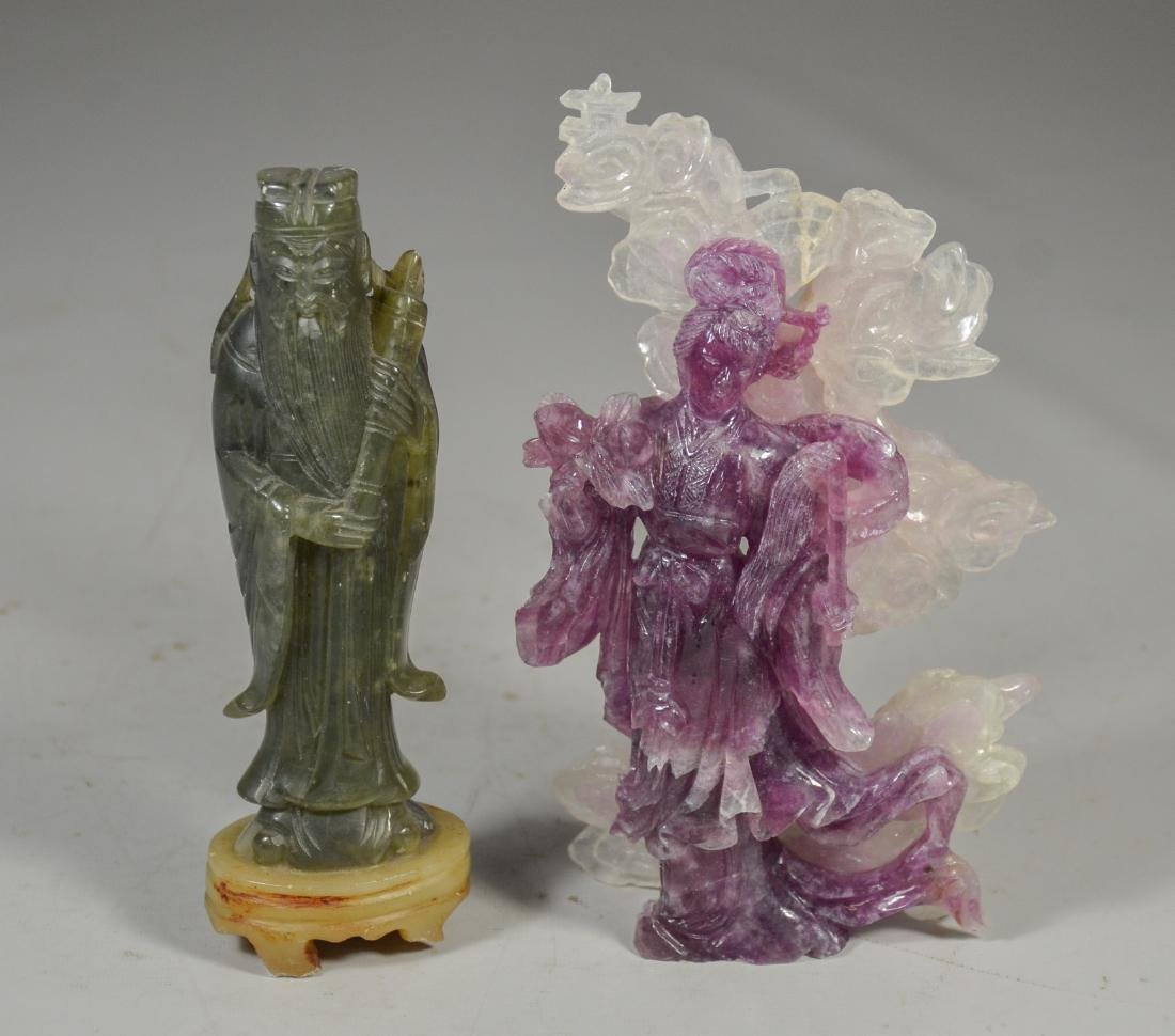 (5) Chinese Stone Carvings of Sage and Maiden