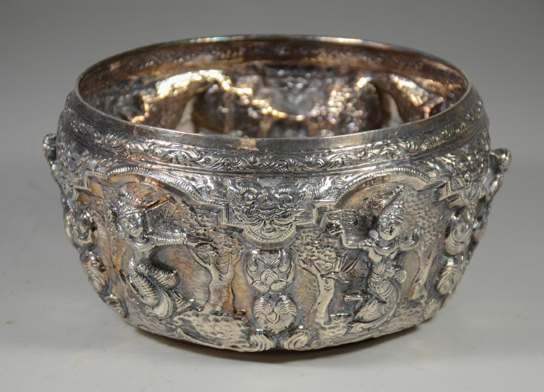 """Silver Burmese repousse bowl with dancing figures, 8"""" d"""