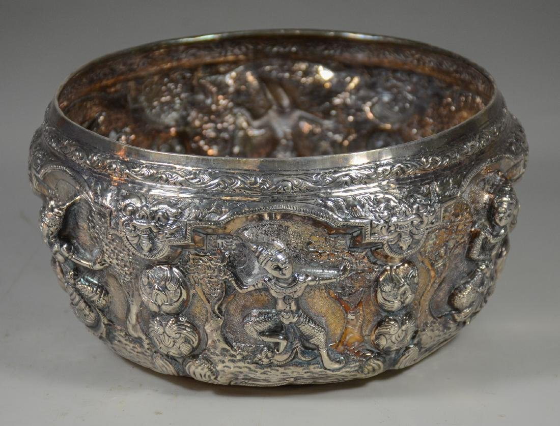 """Silver Burmese repousse bowl with dancing figures, 8"""" d - 2"""