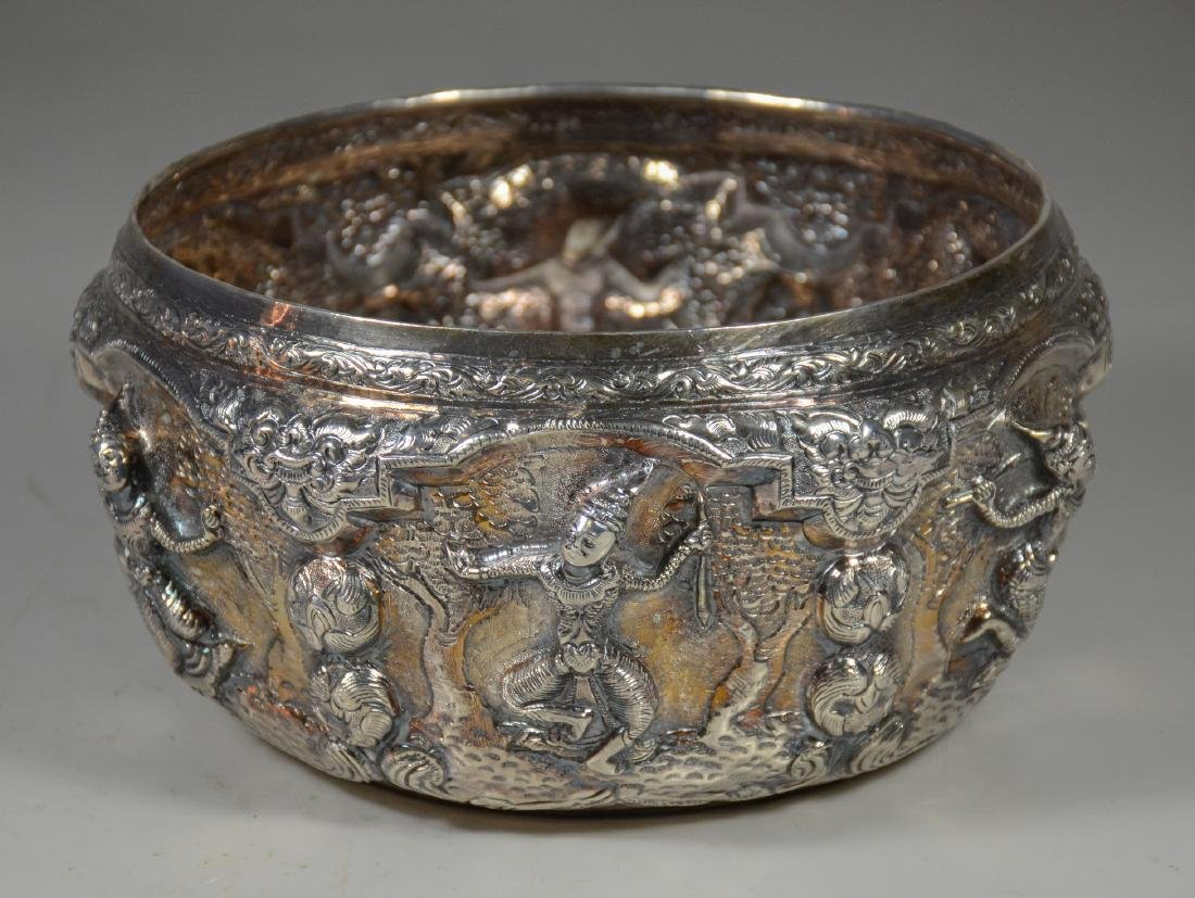 """Silver Burmese repousse bowl with dancing figures, 8"""" d - 3"""