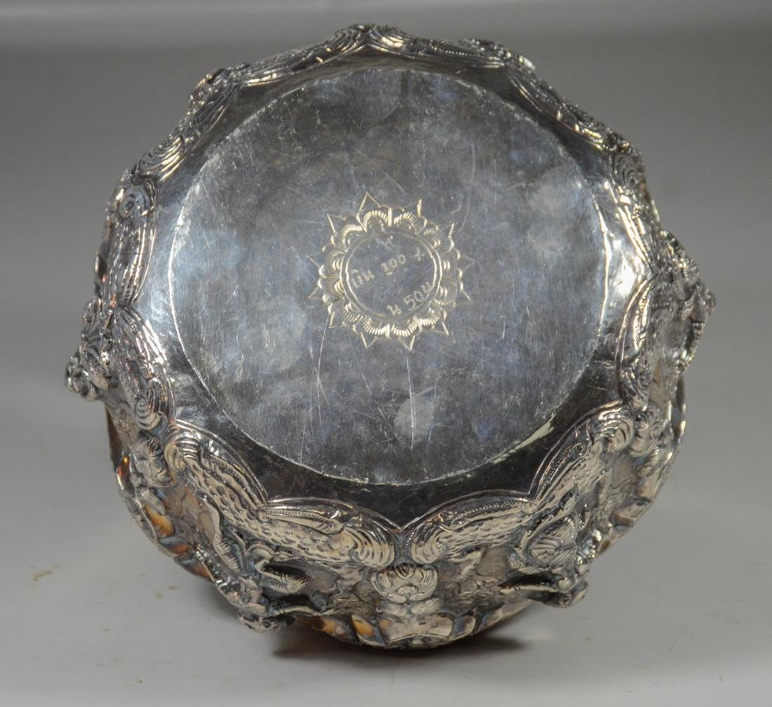 """Silver Burmese repousse bowl with dancing figures, 8"""" d - 4"""