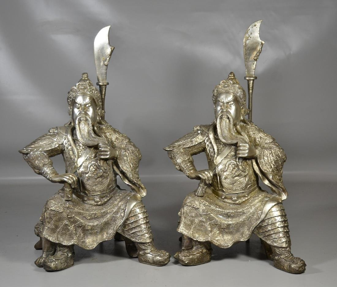 """Pr silver toned warriors with staffs, 21"""" h"""