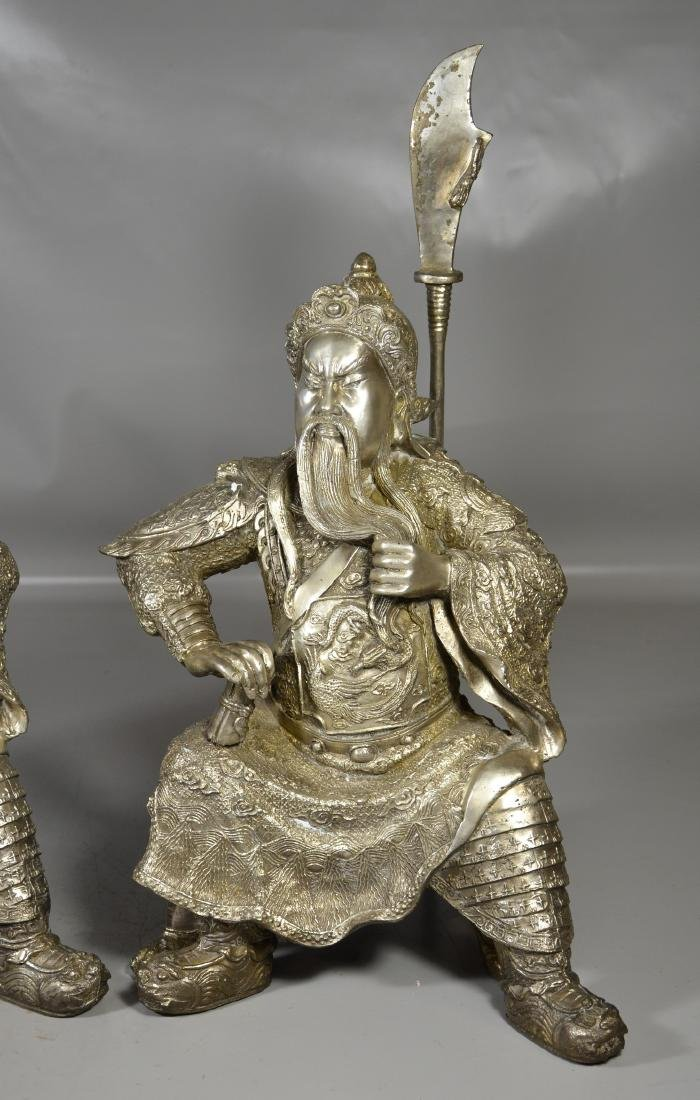 """Pr silver toned warriors with staffs, 21"""" h - 2"""