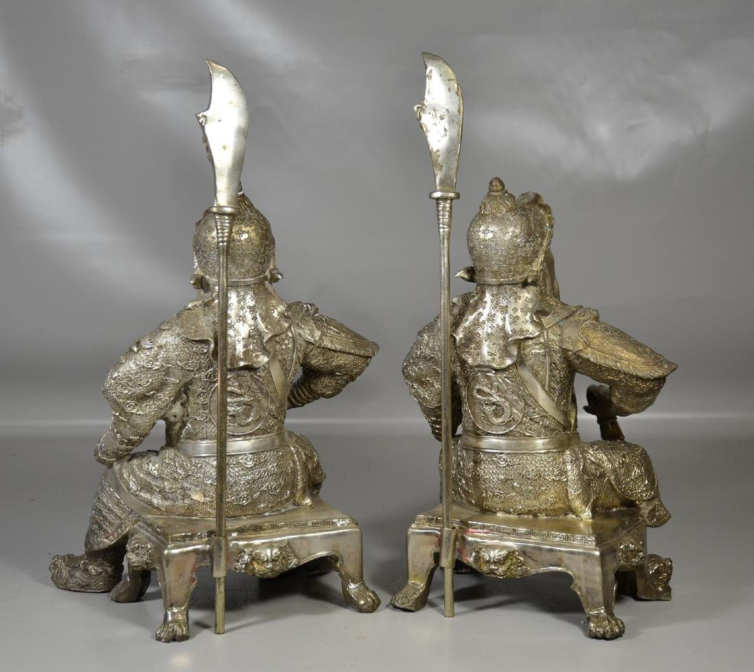"""Pr silver toned warriors with staffs, 21"""" h - 4"""