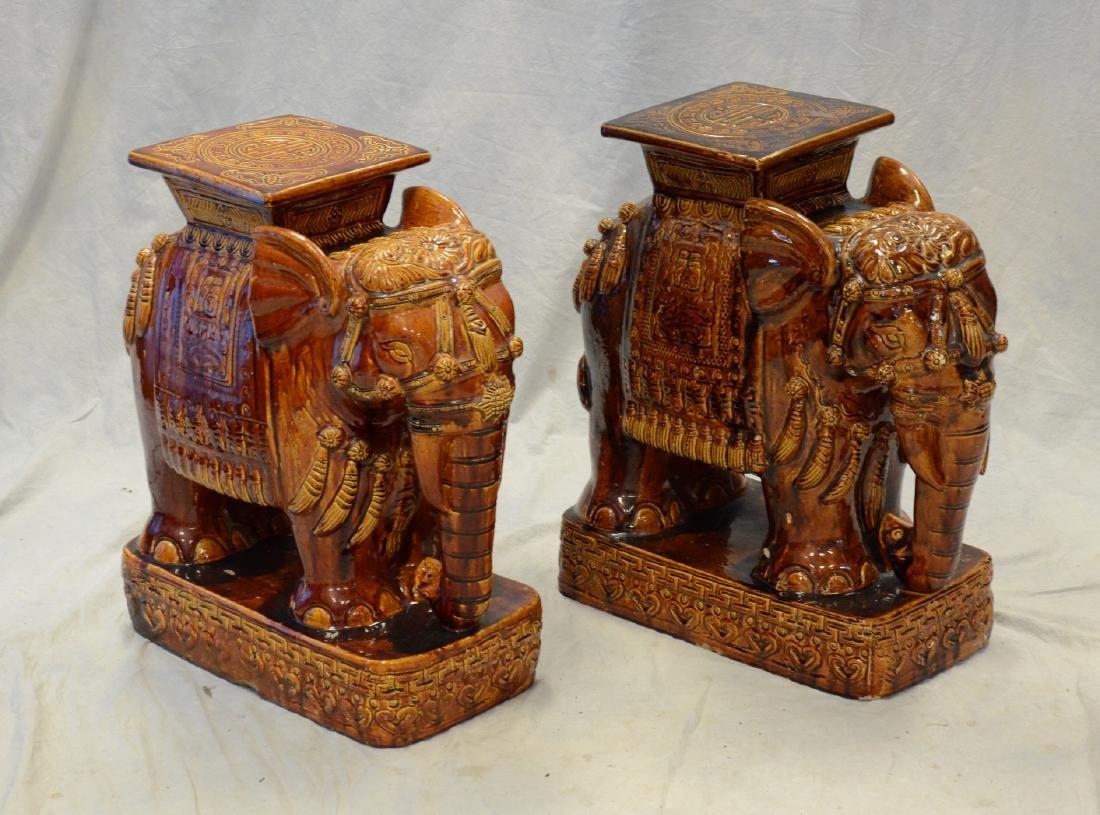 "Pr glazed terracotta elephant garden seats, 23"" h"