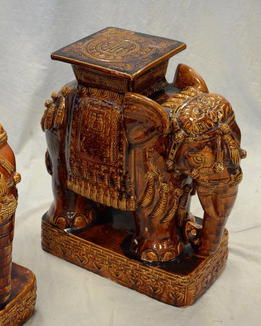 "Pr glazed terracotta elephant garden seats, 23"" h - 2"