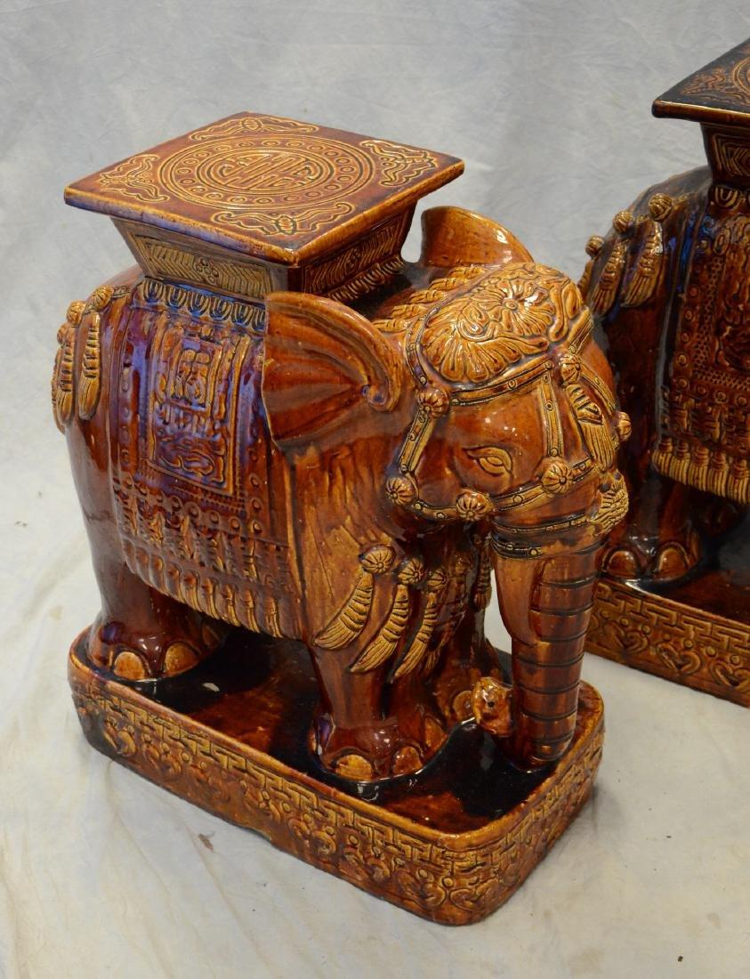 "Pr glazed terracotta elephant garden seats, 23"" h - 3"
