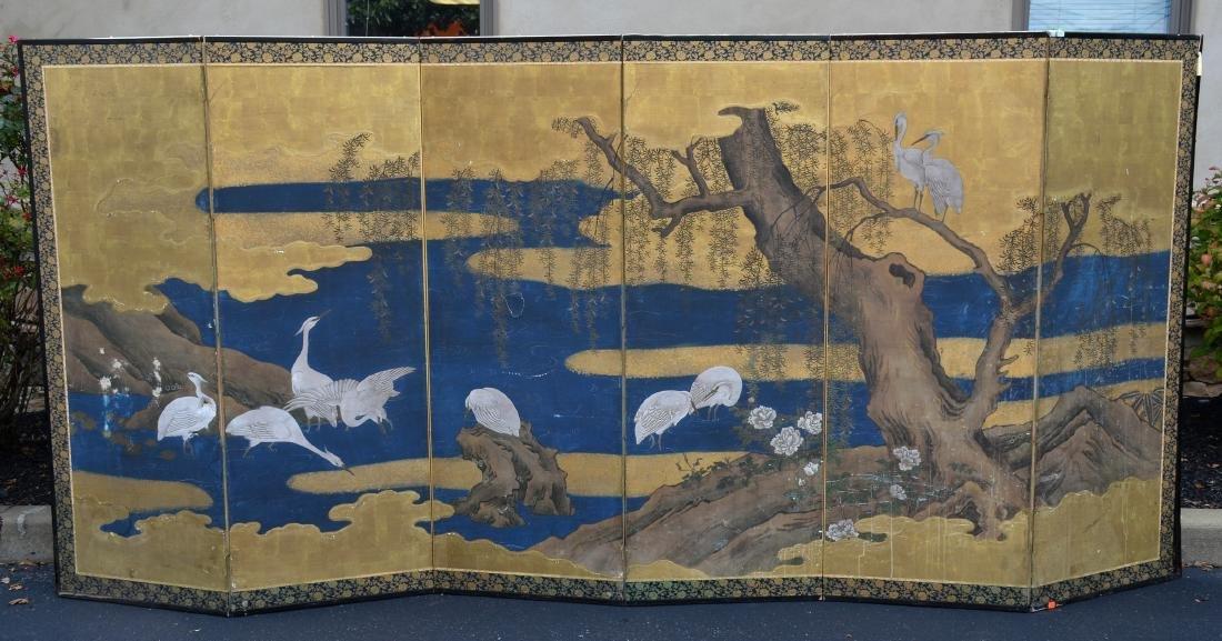 (6) Panel Japanese painted Byobu