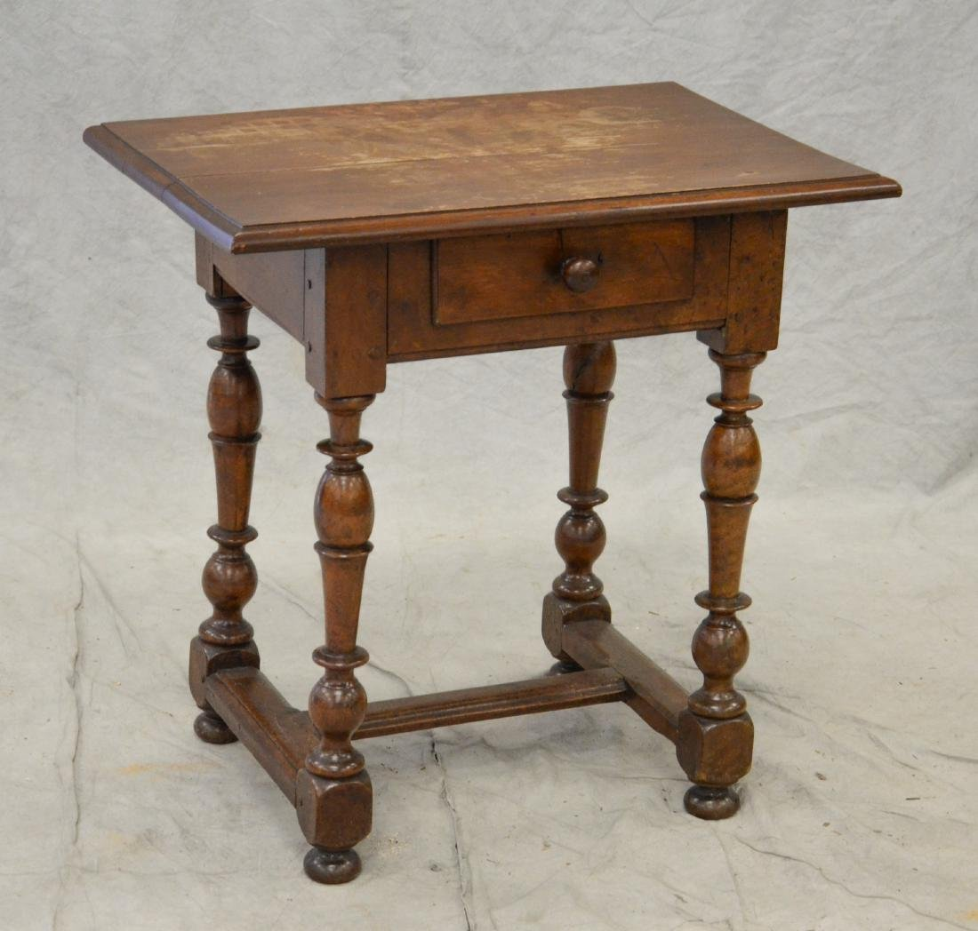 Walnut stretcher base Wm & Mary tavern table w/drawer