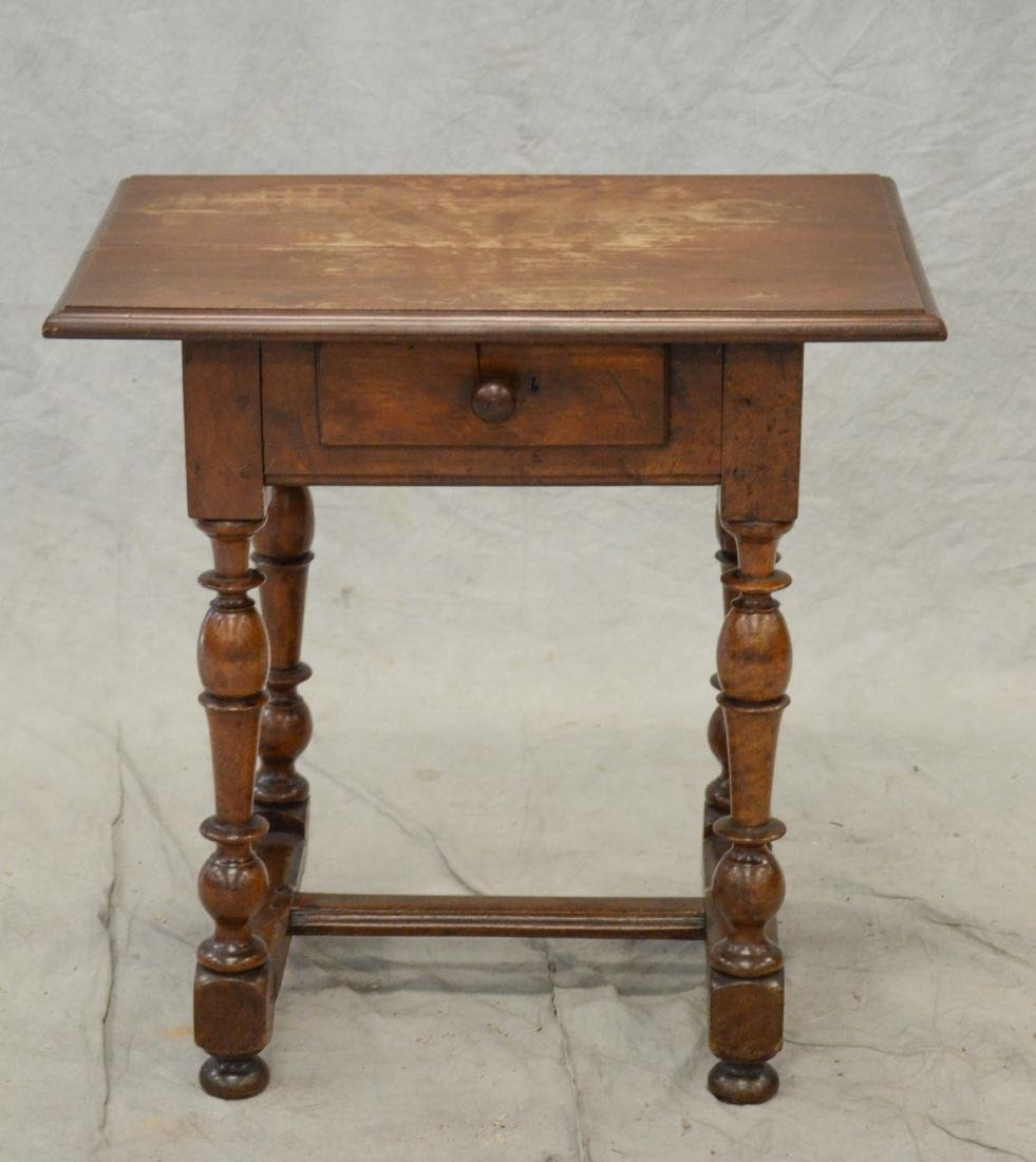 Walnut stretcher base Wm & Mary tavern table w/drawer - 3