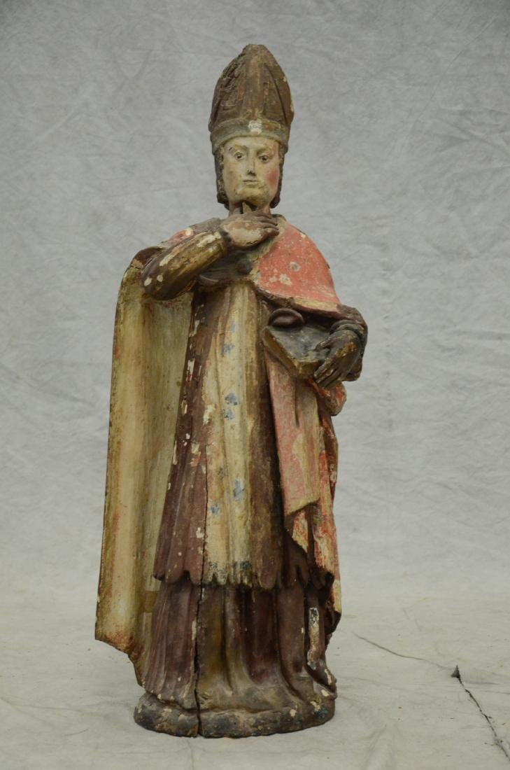 Carved and painted wood figure of saint, 18th/19th c