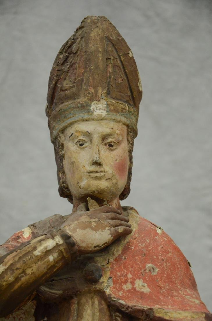 Carved and painted wood figure of saint, 18th/19th c - 2