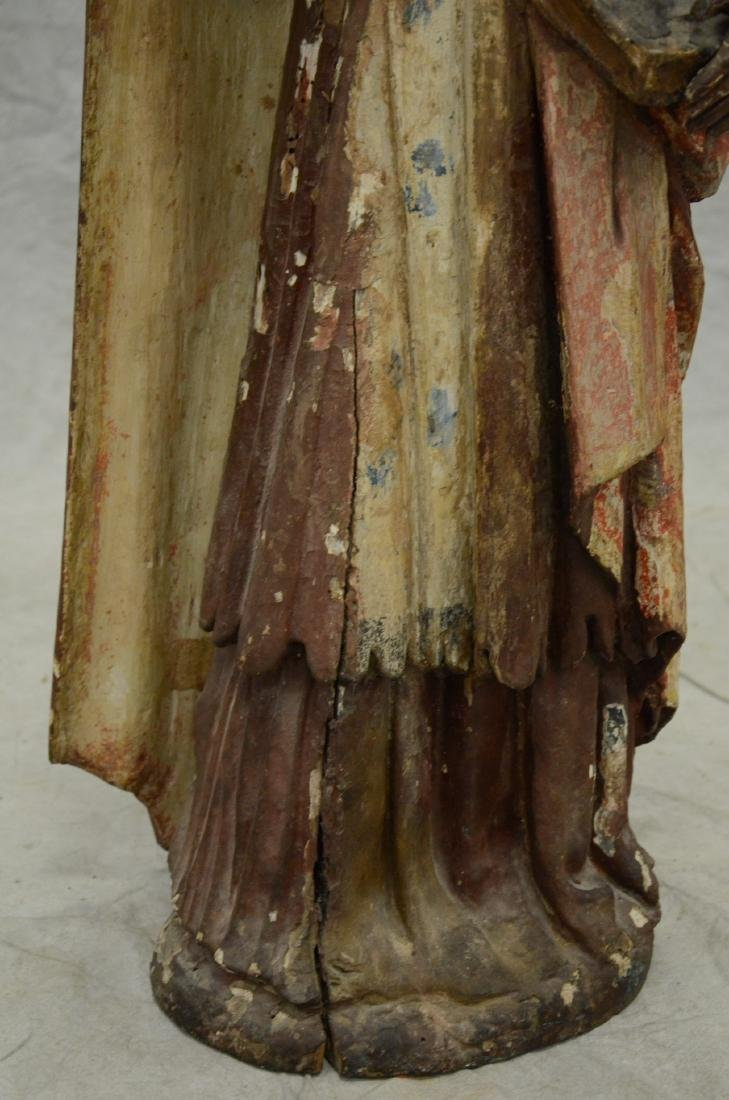 Carved and painted wood figure of saint, 18th/19th c - 3