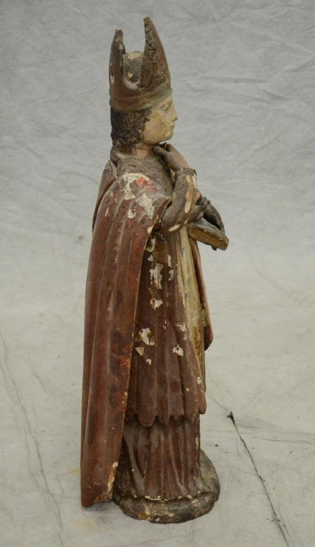 Carved and painted wood figure of saint, 18th/19th c - 4