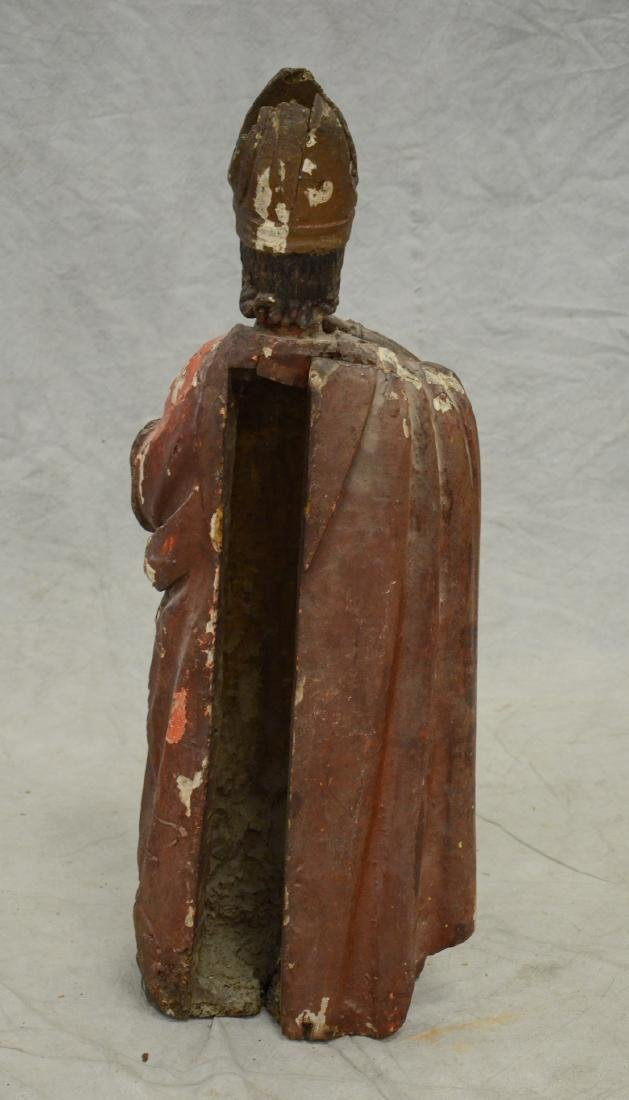 Carved and painted wood figure of saint, 18th/19th c - 5