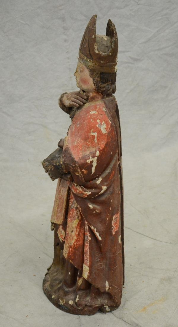 Carved and painted wood figure of saint, 18th/19th c - 6