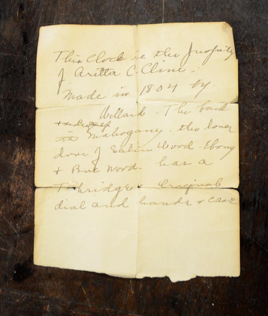 "Early wt driven banjo clock, glass signed ""Willard"" - 10"