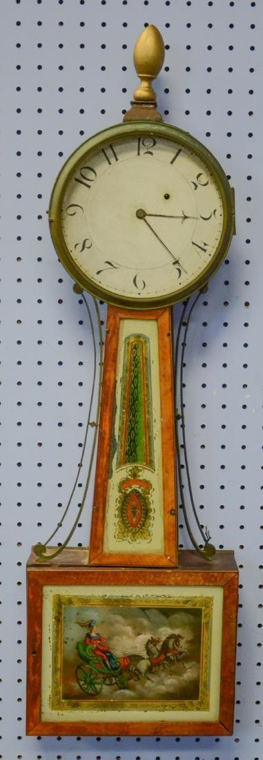 "Early wt driven banjo clock, glass signed ""Willard"""