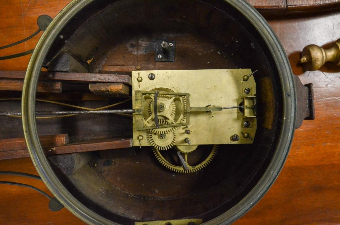 "Early wt driven banjo clock, glass signed ""Willard"" - 2"