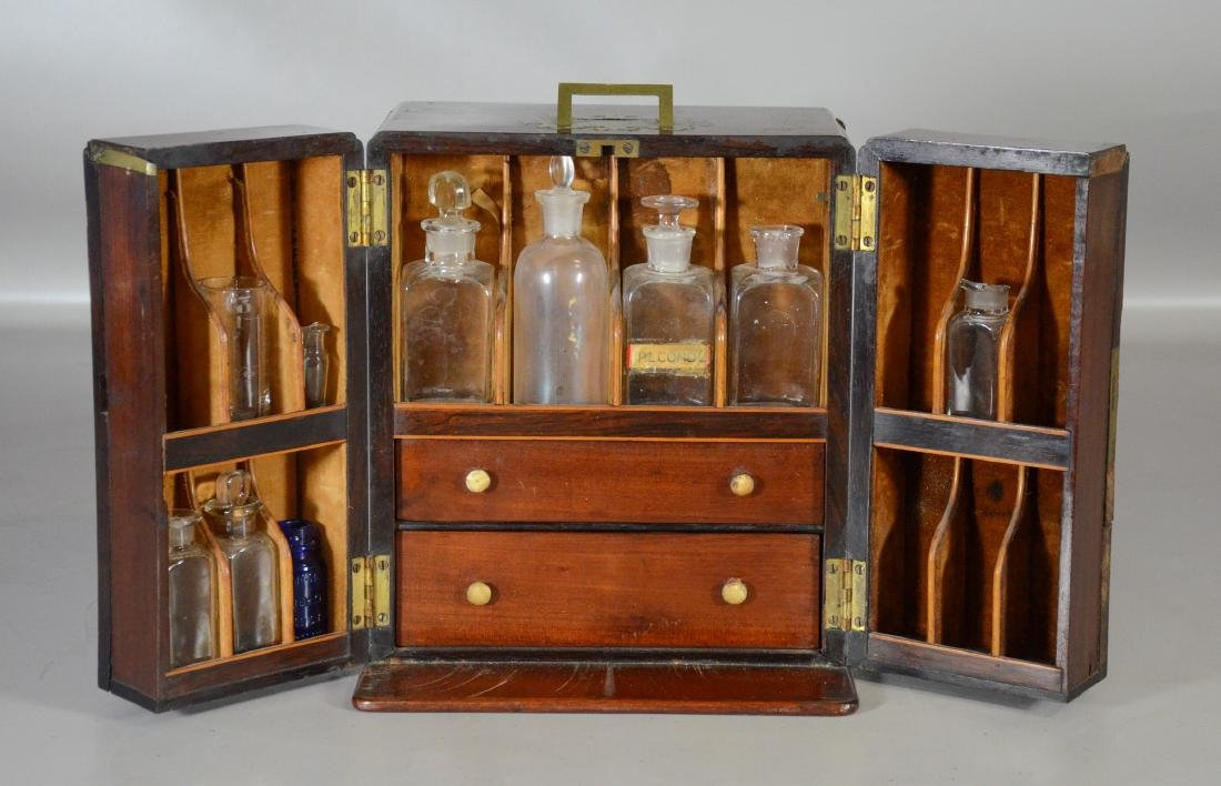 19th C mahogany brass fitted apothecary chest