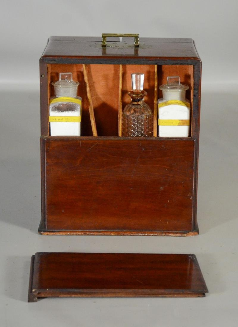 19th C mahogany brass fitted apothecary chest - 5