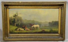 George G Fryer Landscape of Horses and Sheep