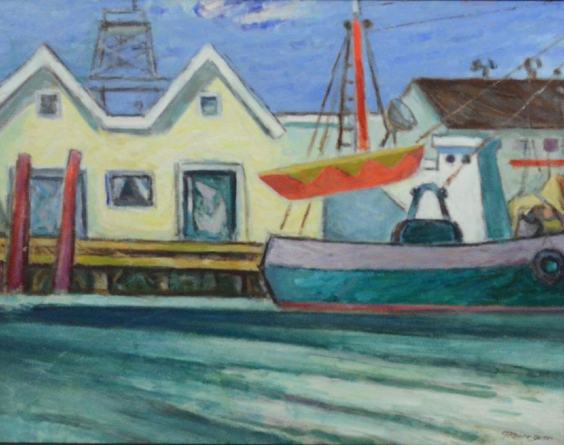 G Ralph Smith Harbor Scene, Oil on Masonite