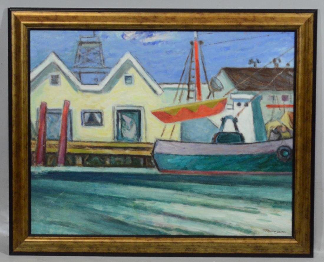 G Ralph Smith Harbor Scene, Oil on Masonite - 2