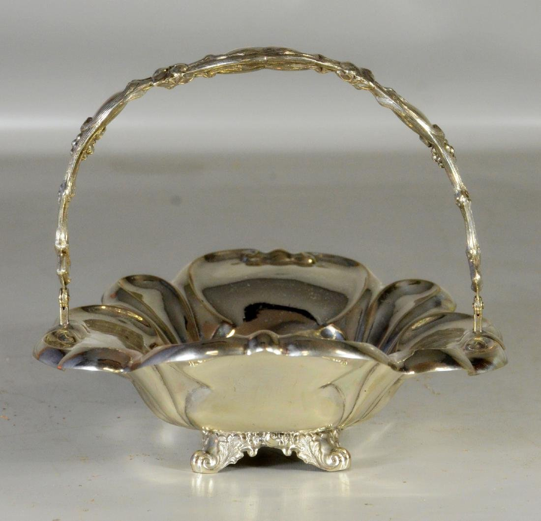 Unmarked Continental silver swing handle basket - 2