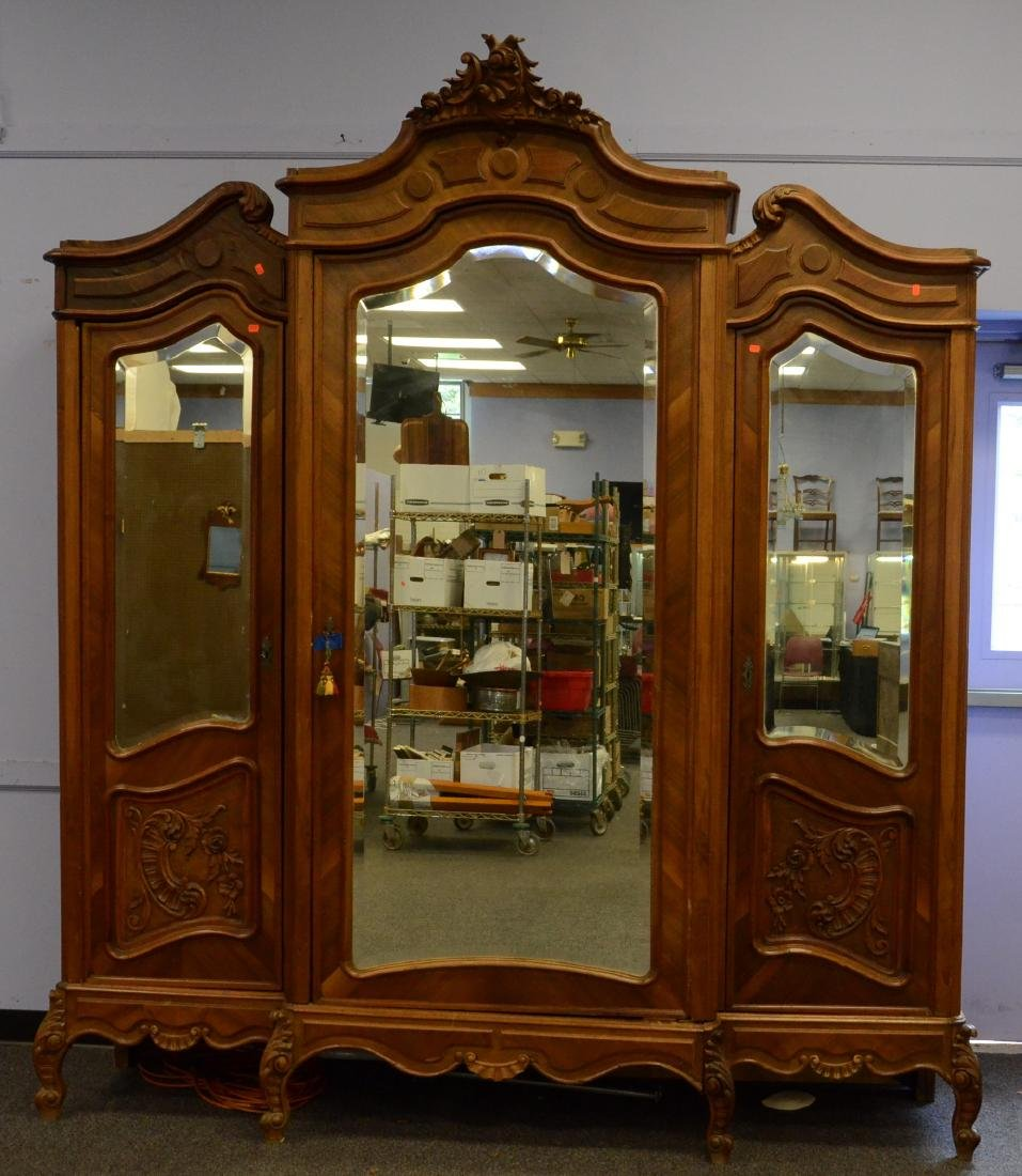Carved walnut French 3 door armoire