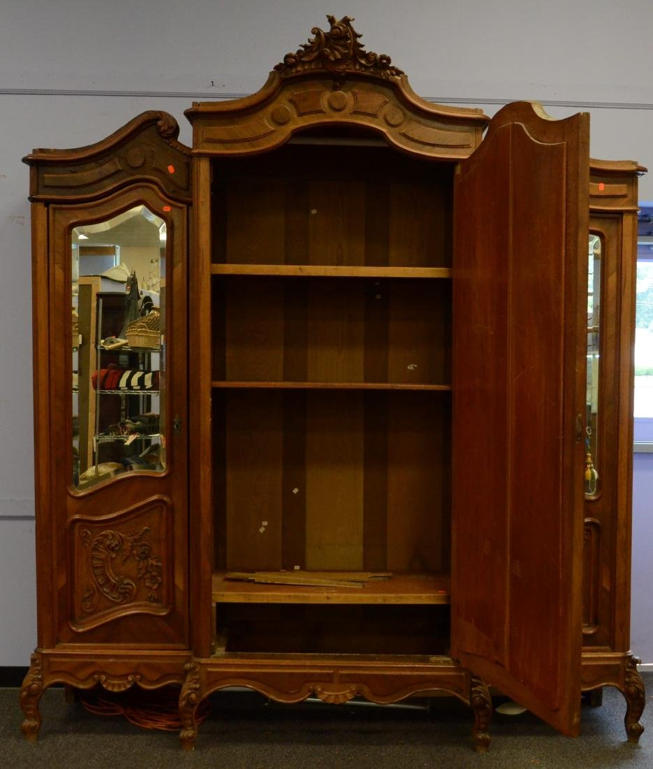 Carved walnut French 3 door armoire - 3