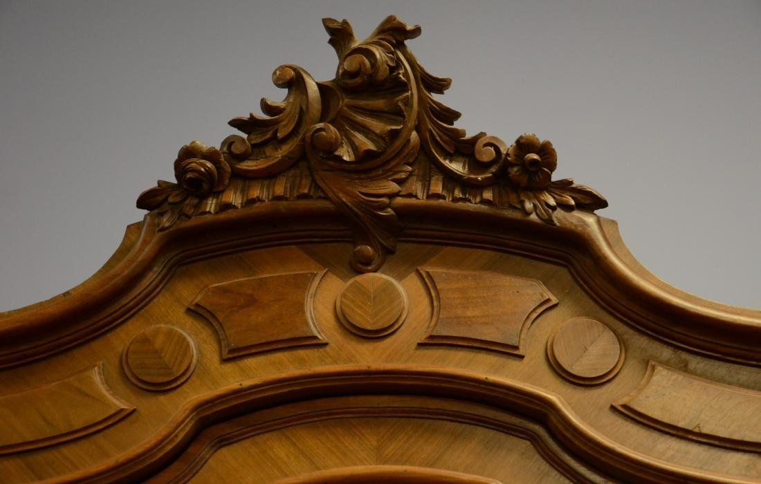 Carved walnut French 3 door armoire - 4