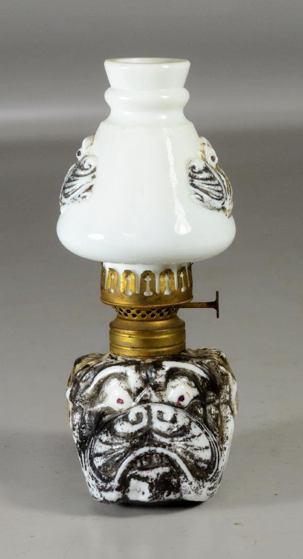 Miniature bulldog face milk glass lamp