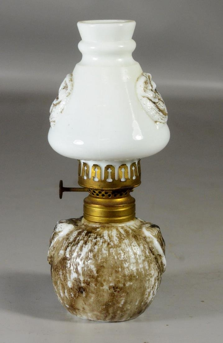 Miniature bulldog face milk glass lamp - 3