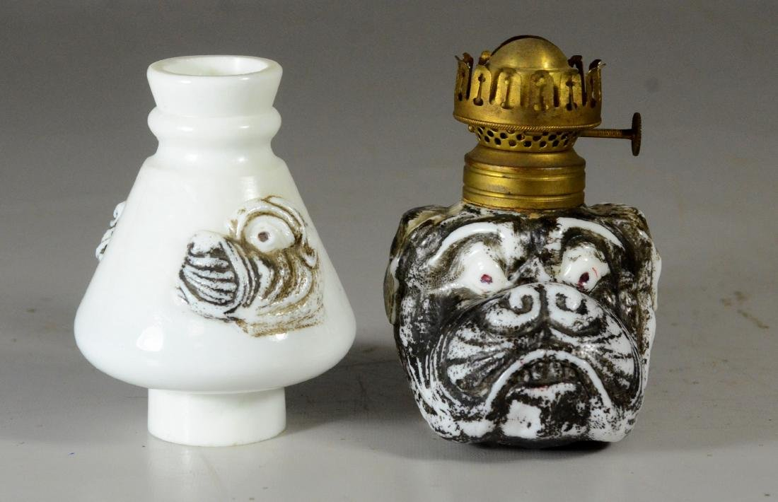 Miniature bulldog face milk glass lamp - 4
