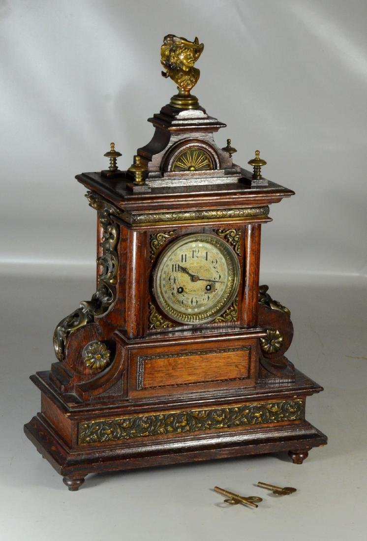 "Oak Japy Freres French mantle clock, 22"" h"