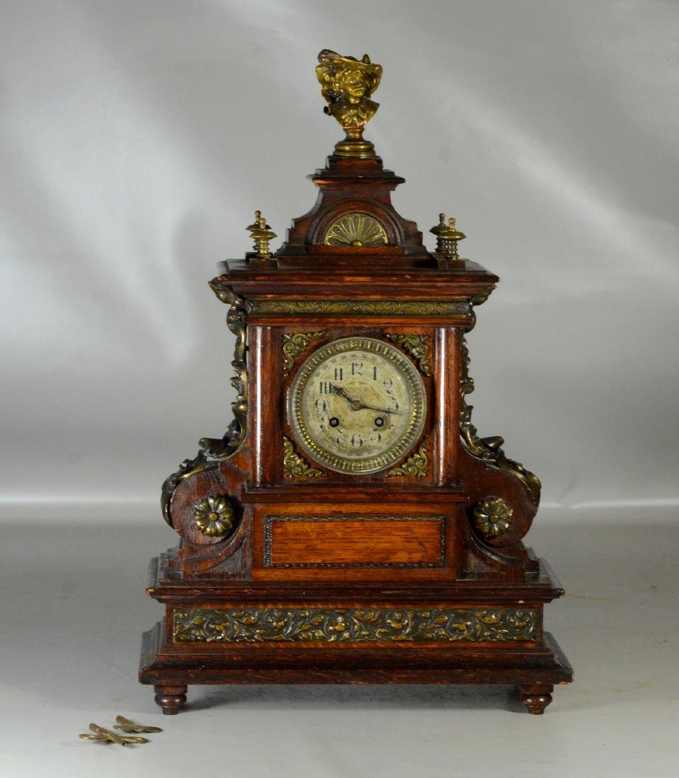 "Oak Japy Freres French mantle clock, 22"" h - 2"
