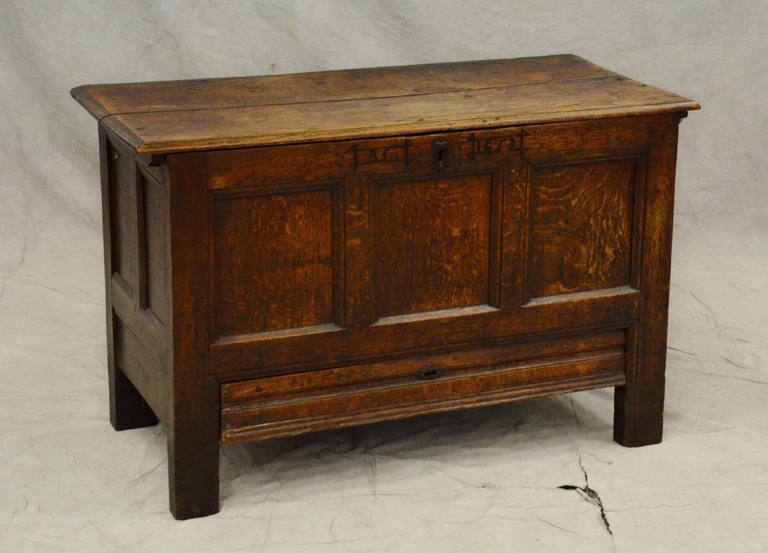 Carved oak Jacobean paneled blanket chest, 1653