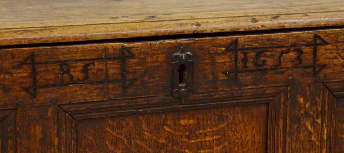 Carved oak Jacobean paneled blanket chest, 1653 - 2