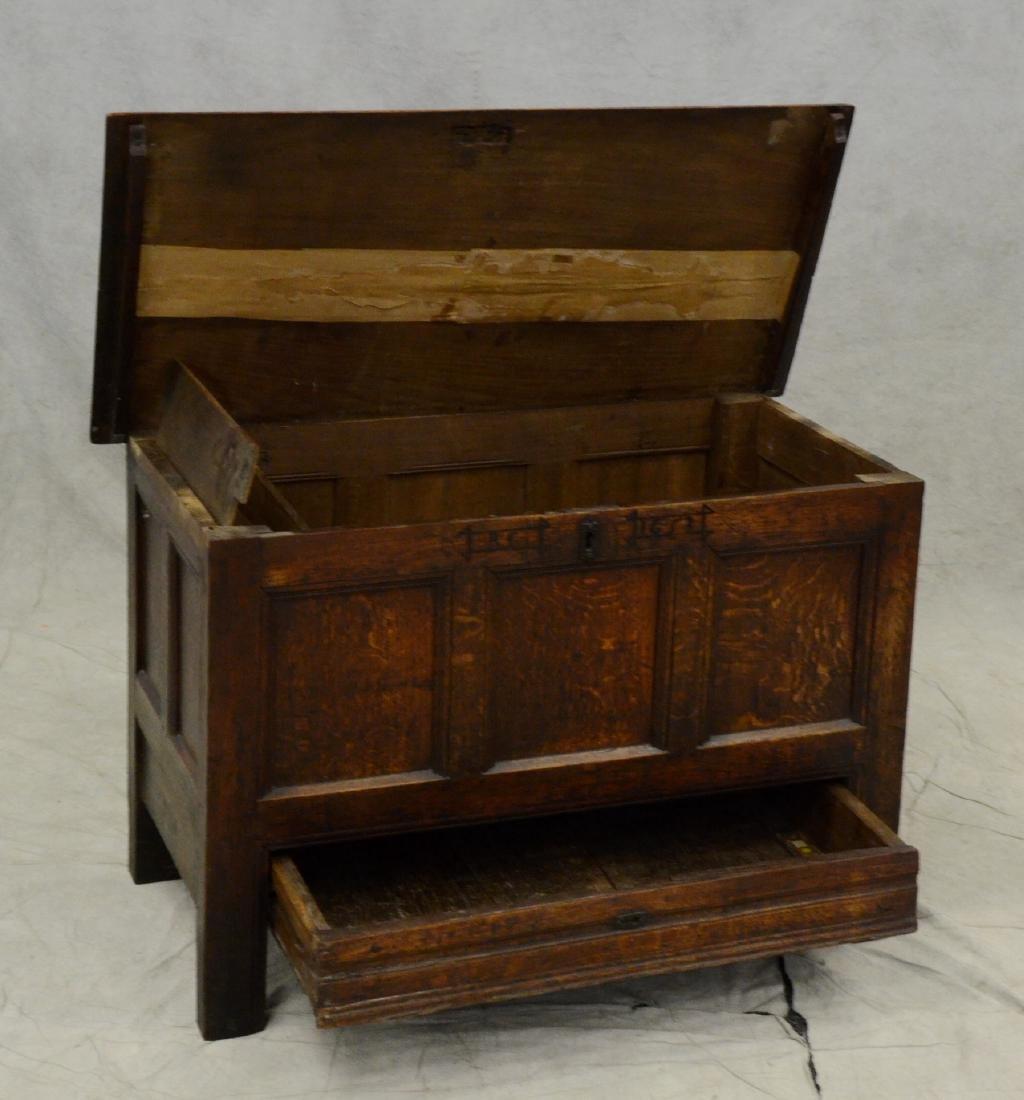 Carved oak Jacobean paneled blanket chest, 1653 - 4