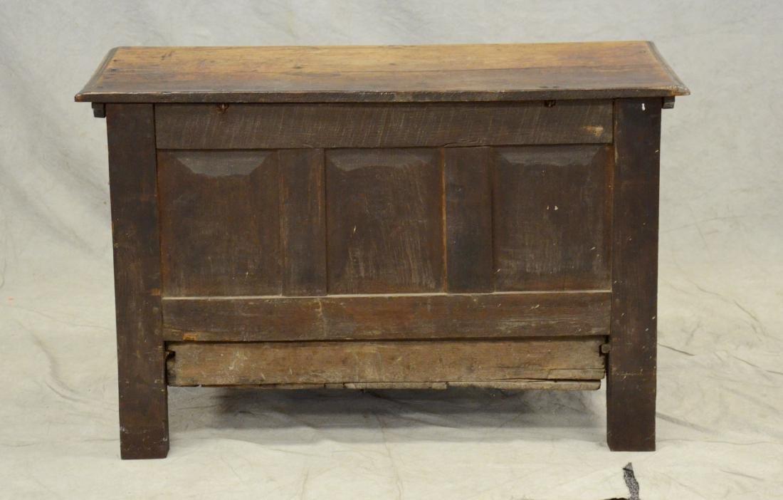 Carved oak Jacobean paneled blanket chest, 1653 - 6